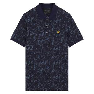 Lyle & Scott Mens Earth Print Polo Shirt Dark Navy