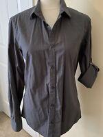 Women's Calvin Klein Grey Plaid 3/4 Rolled Tab Sleeve Button Down Shirt Sz S EUC