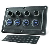 12V/24V 4 Gang Touch Screen Marine Rocker Switch Panel Circuit Breaker for Auto