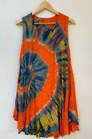 Women's 100% rayon tie-dye orange boho hippie maxi dress size approx M 10 - 12
