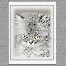 6 Gray Kitten Cat Blank Art Note Greeting Cards