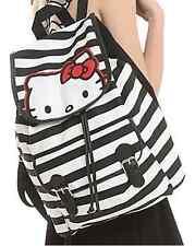 Loungefly Hello Kitty Sanrio Kawaii striped Slouch Buckle Bookbag cinch Backpack