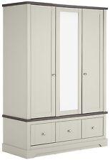9d4b27efb92 Heart of House Westbury 3 Door 3 Drawer Mirrored Wardrobe - Grey