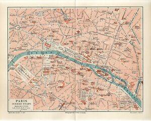 1896 FRANCE PARIS INNER CITY PLAN Antique Map