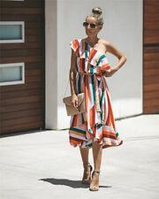 Summer Womens Party Striped Ladies Ruffles Boho Swing One Shoulder Midi Dress