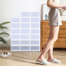 Us 20X Plastic Transparent Shoe Boxes Stackable Foldable Shoe Storage Organiser