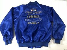 Vintage Hartwell Corvette Blue Satin Bomber Jacket Embroidered Gatlinburg LG