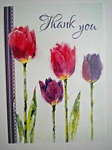 PURPLE & PINK SPRING TULIPS THANK YOU GREETING CARD + DESIGNER ENVELOPE