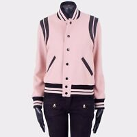 SAINT LAURENT PARIS 2550$ Faded Rose Leather Trimmed Wool Blend Teddy Jacket