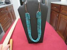 Vintage Turquoise Disc Heische Bead 4 Strand Necklace w/ pierced Earrings