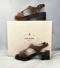 PRADA Heels Shoes Peep-toe Platform  NIB Brown Suede Leather Sz:EU35-1/2 $899