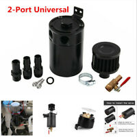 Universal Compact Baffled 2-Port Oil Catch Can Tank Air Oil Separator Black