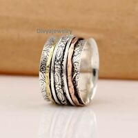 Solid 925 Sterling Silver Spinner Ring Meditation Ring Statement Ring Size Ra 39