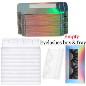 10/30/50 Pcs Holographic Empty False Eyelash Package Box with Eyelash Tray Kit