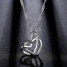 Halskette Kette mit Herz Anhänger zwei Herzen Kupfer NEU