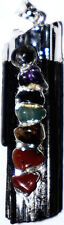 7 Chakren  Chakrafarben Anhänger Turmalin mit Edelsteinen Chakra 45*10mm Silber