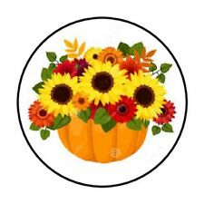 "48 FALL AUTUMN SUNFLOWERS ENVELOPE SEALS LABELS STICKERS 1.2"" ROUND"