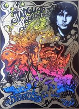 THE DOORS AT THE ROUNDHOUSE, VINTAGE REPRO PSYCHEDELIC POSTER METALLIC