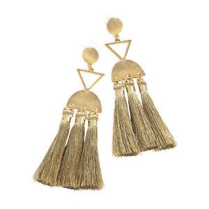 Gold Coloured Drop Earrings Gold Thread Tassel Ladies Fashion Jewellery