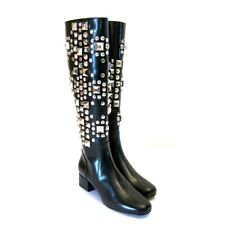 J-3870179 New Saint Laurent Black Ketta Silver Stud Zip Knee Boots Shoe Size 5