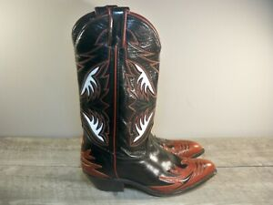 Vintage CODE WEST Cowboy Western Boots Black w /Red INLAY Womens Size 7 USA Made