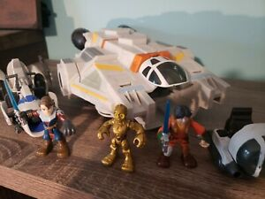 Galactic Heroes Star Wars Ghost with Ezra, C3PO, and Anakin with speeder