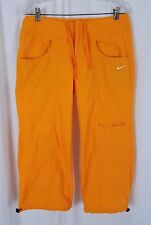 Nike Yellow Orange Cropped Cotton Parachute Capri Pants Cinch Ankles Womens M