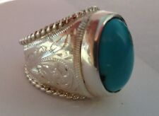 Western Indian Hand/Custom Made Engraved Sterling Silver Turquoise Ring Any Size