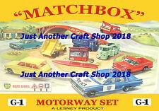 Matchbox Toys G-1 Motorway Set A4 size Poster Artwork Shop Display Sign Leaflet