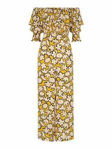 WHISTLES Ladies Rhea Print Silk Floral Jumpsuit Yellow Multi UK10 BNWT RRP299