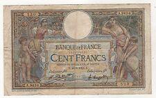 France 100 Francs 1923 Pick 71 VF- Check Photo  Circulated Banknote