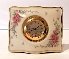 Lenox Square Rose Manor Desk Clock Fine American China