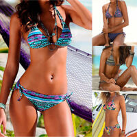 Women Brazilian Bikini Swimwear Halter Neck Push Up Swimsuit Beach Bathing Suit