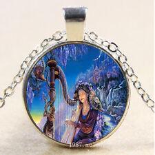 Photo Cabochon Glass Silver Charm Pendant Necklace(harp &)