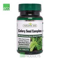 Natures Aid Vegan Celery Seed Complex Montmorency Cherry Burdock & Nettle 60tabs