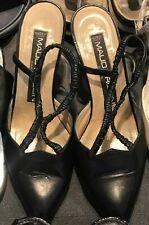 Designer Maud Frizon Paris Black Leather Slingback Strap Kitten Heel Shoes EUR37