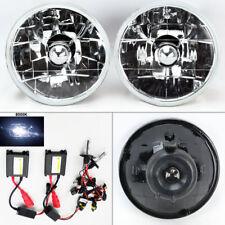 """5.75"""" 5 3/4 Round 8K HID Xenon H4 Clear Glass Headlight Conversion Pair Mercury"""