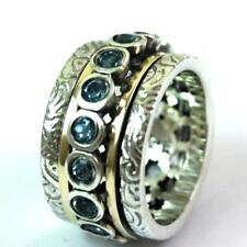 Ring Blue Topaz Spinner RING silver gold 9ct  MEDITATION rings