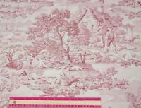 """Antique c1890-1900 French Romantic Country Printed Toile Fabric Yardage~61""""X29"""""""