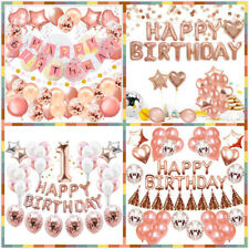 Rose Gold Birthday Decoration Baby Shower Party Supplies Set for Kid Girls Adult