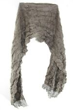 LADIES BROWN / SILVER INFUSED FRILL DESIGN WRINKLED ABSTRACT SACRF(MS34)