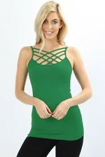 Criss Cross Strappy Cage Camisole Tank Top Layering Spaghetti Strap Long Womens