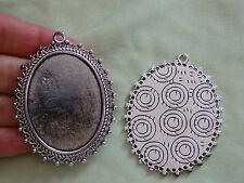 5 large picture photo frame oval setting blanks pendant charm Tibetan silver UK