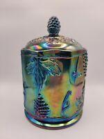 Indiana Glass Blue Carnival Iridescent Harvest Grape Lidded Canister Cookie Jar