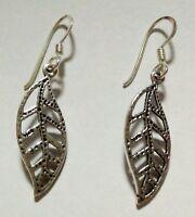 Mädchen Damen Ohrringe/Ohrstecker SCHMUCK Silber 925% Sterling Laub-Design