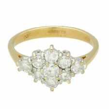 18Carat Yellow Gold 1.00ct Diamond Cluster Ring (Size N) 14x10mm Head