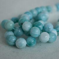 Grade A Natural Blue Larimar Semi-precious Gemstone Round Beads - 8mm - 4 Beads