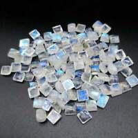 Wholesale Lot !! 6mm Natural Rainbow Moonstone Square Cabochon Loose Gemstone