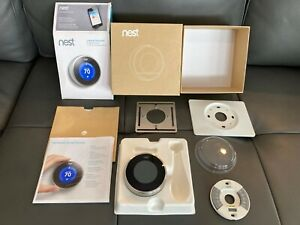 Nest Learning Thermostat Stainless Smart Home Google Temperature NO RESERVE