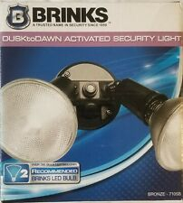 Brinks Activated Security Light Bronze 7105B 2 Head Dusk To Dawn Open Box